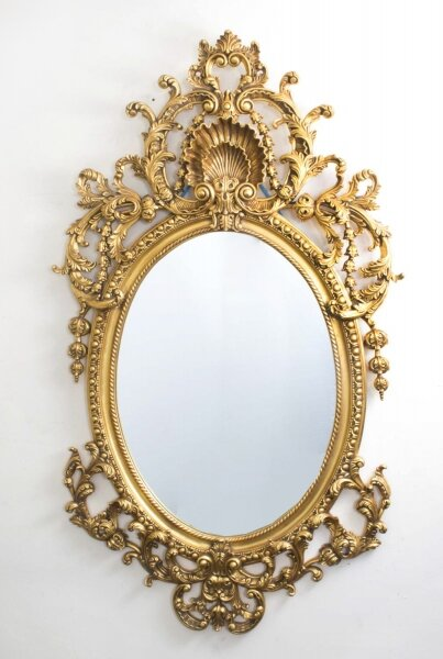 Italian Rococo Gilded Oval Mirror Giltwood 142 x 80 cm | Ref. no. 06821 | Regent Antiques