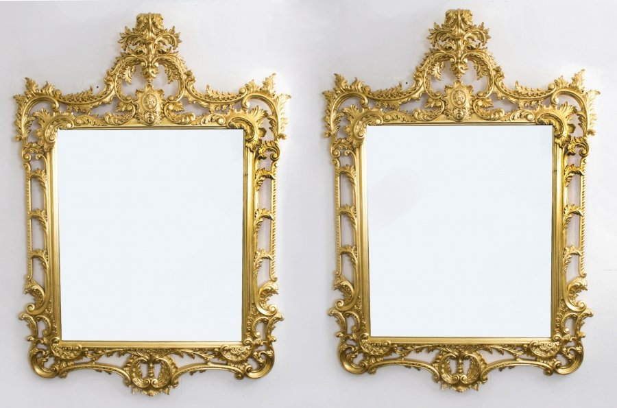 Pair Elaborate Gilded Hand Carved  George II Style Mirrors 170 x 124 cm | Ref. no. 06824a | Regent Antiques