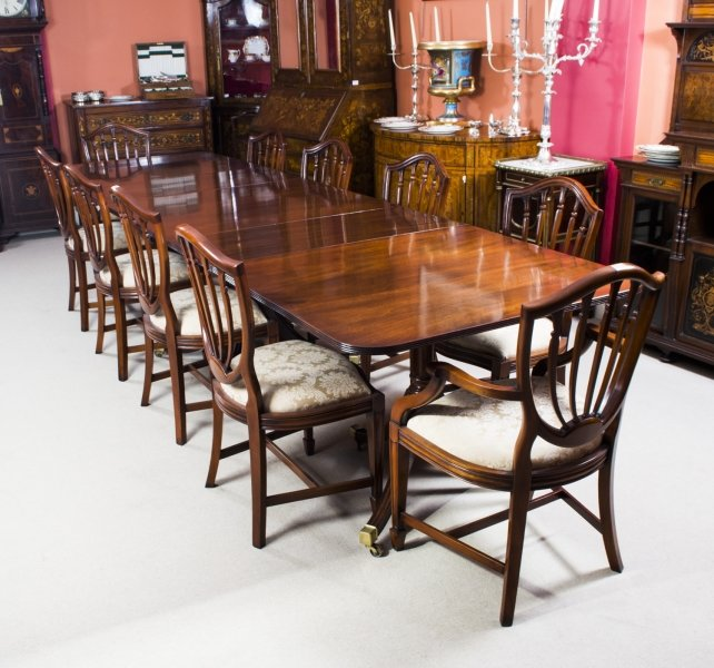Antique 12ft regency 3 pillar dining table 10 chairs c1900 for Pillar dining table