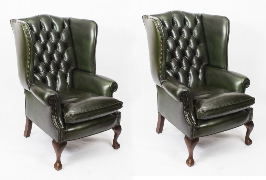 Bespoke Pair Leather Chippendale Wingback Armchairs  Alga Green | Ref. no. 06886G | Regent Antiques