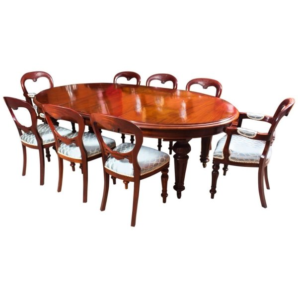 Antique Victorian Oval Dining Table 8 Chairs