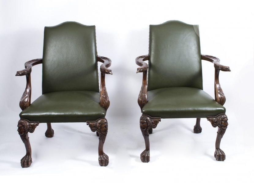 Stunning Pair Eagles Leather Library Chairs Armchairs 20thC | Ref. no. 07000 | Regent Antiques