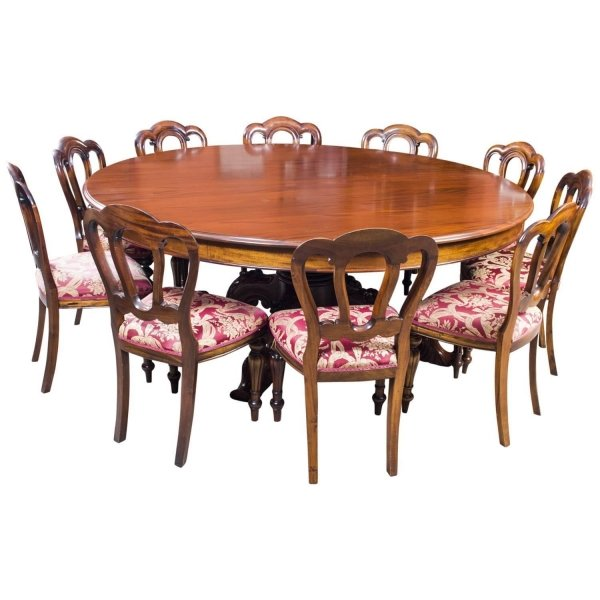 vintage 2 metre diam mahogany dining table 10 chairs