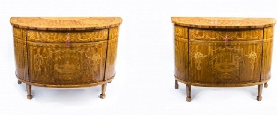 Antique Pair Satinwood Demi Lune Cabinets Commodes c.1900