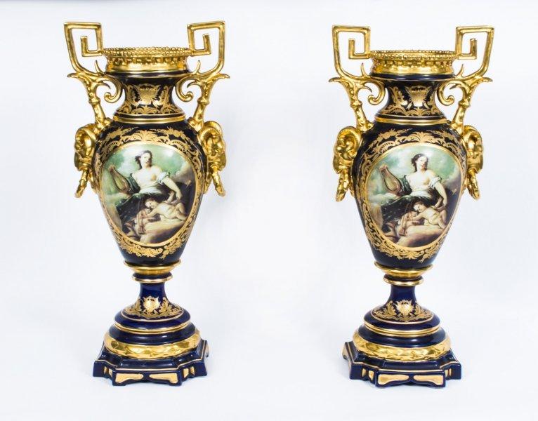 Pair French Louis Xiv Style Porcelain Ormolu Vases Ref No 07044