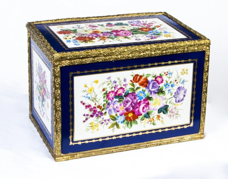 Large Hand Painted Navy Sevres Porcelain Casket | Ref. no. 07080b | Regent Antiques