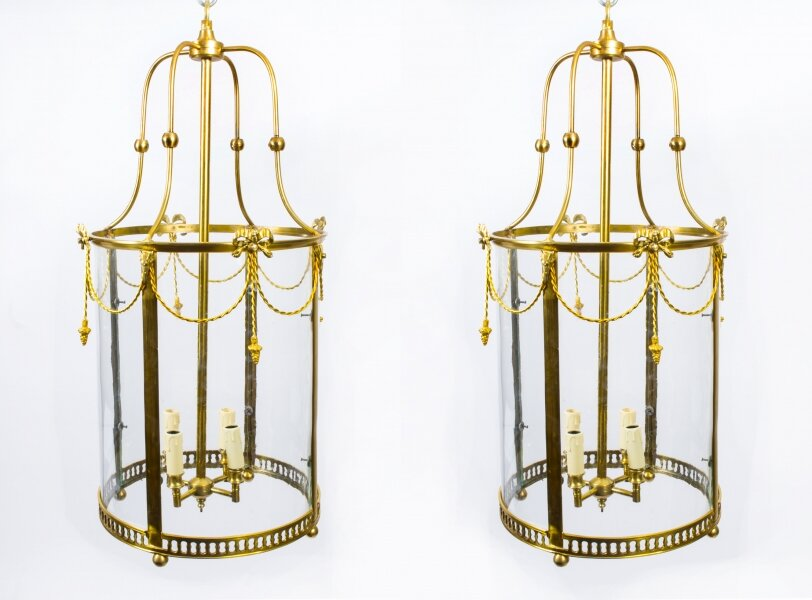 Pair of Sheraton Style Solid Brass Circular Lanterns | Ref. no. 07082a | Regent Antiques