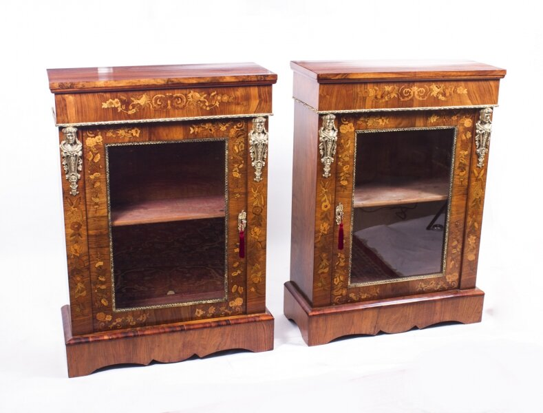 Antique Pair Burr Walnut Marquetry Pier Cabinets c.1870 | Ref. no. 07139 | Regent Antiques
