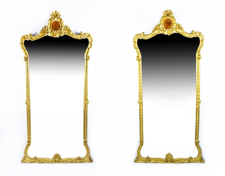 Antique Pair French 2.5 metre Giltwood Pier Mirrors c.1900 - 246 x 125 cm | Ref. no. 07177 | Regent Antiques