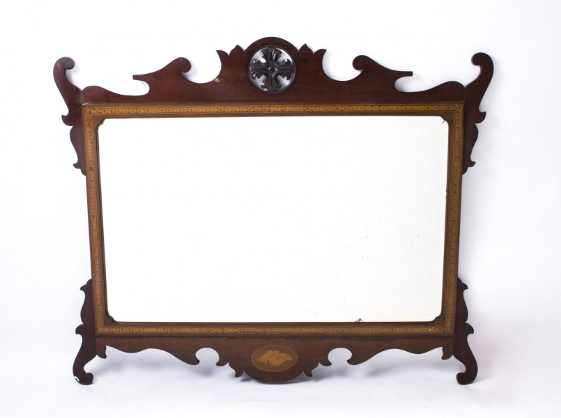 Antique Edwardian Mahogany Inlaid Marquetry Mirror c.1900 - 93 x 113 cm | Ref. no. 07231 | Regent Antiques