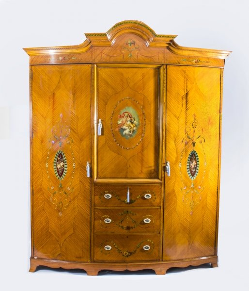 Antique English Satinwood & Painted Wardrobe c.1900 | Ref. no. 07300 | Regent Antiques