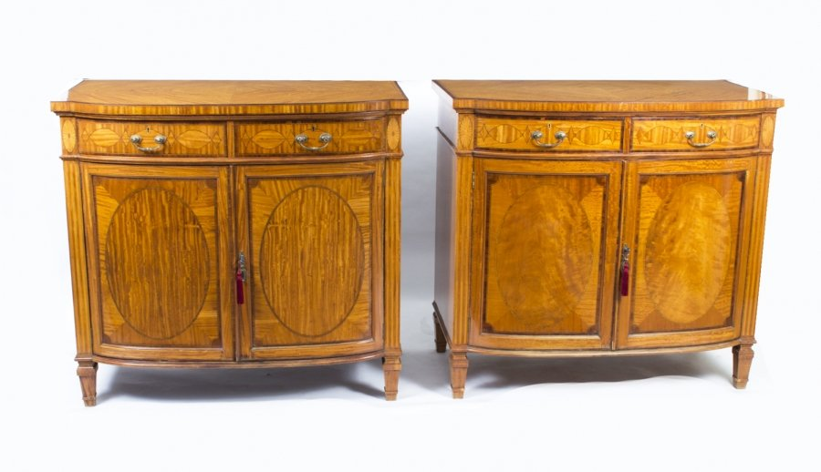 Antique pair satinwood commodes cabinets maple co for 1880 kitchen cabinets