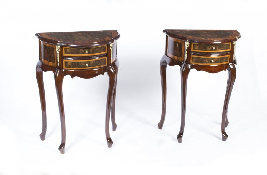 Stunning Pair Burr Walnut Bedside Cabinets Side Tables | Ref. no. 07330 | Regent Antiques