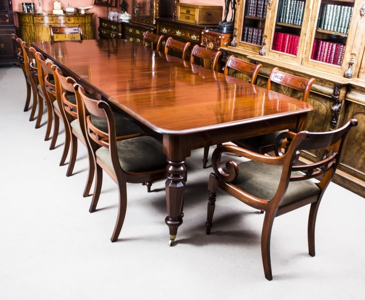 Antique wiliam iv mahogany extending dining table 12 for 12 chair dining table set