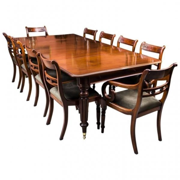 Antique Regency Gillows Dining Table 10 Regency Chairs