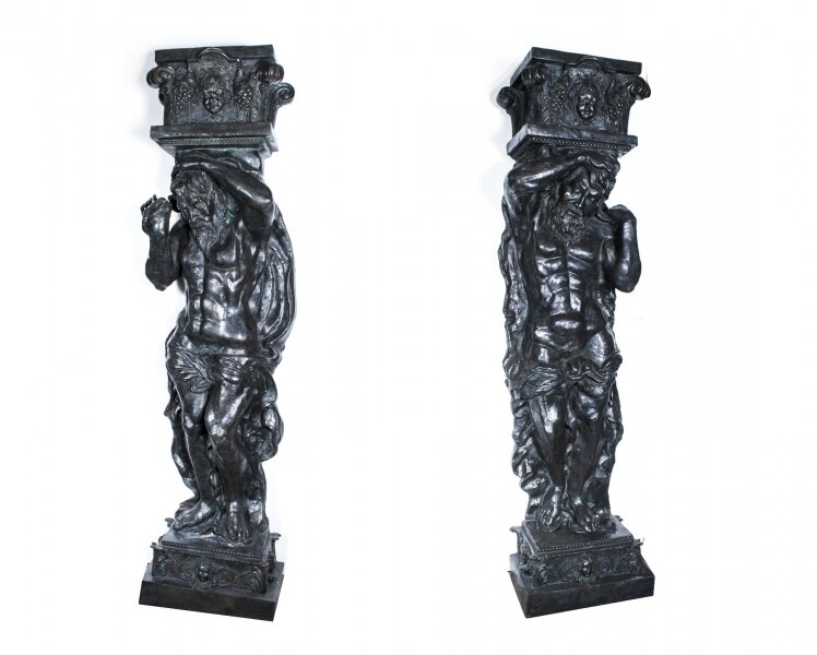A Pair of Large Bronze Columns Depicting Atlas | Large Bronze Statues | Ref. no. 07436 | Regent Antiques