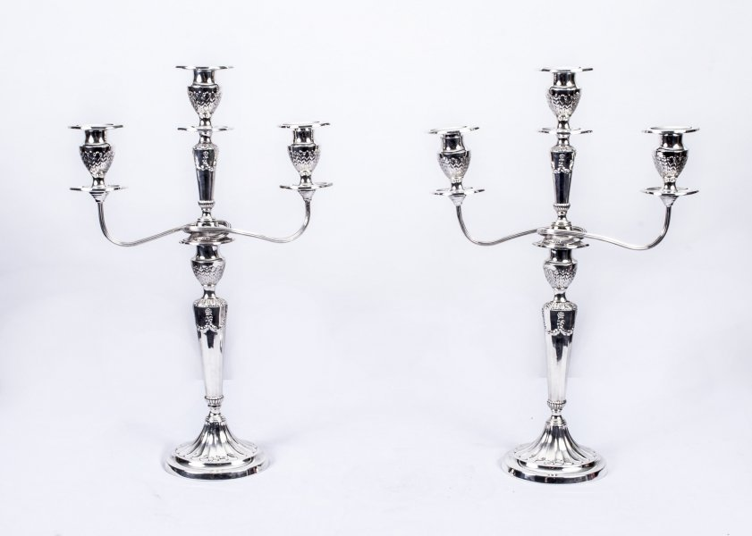 pair of antique silver plated candelabra | Ref. no. 07471 | Regent Antiques