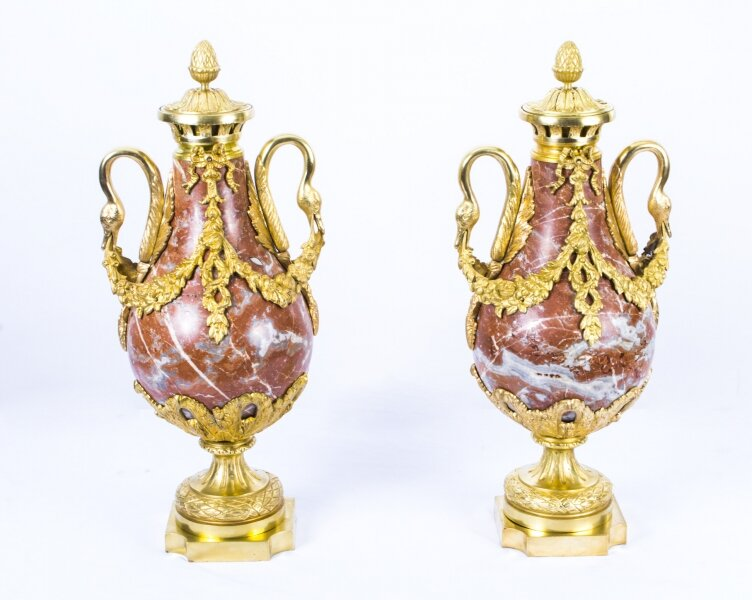 Antique Pair Louis XV French Rouge Marble Urns c.1860 | Ref. no. 07515 | Regent Antiques