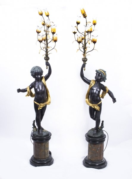 Large Pair 7ft Gilded Bronze Cherub Candelabra on Marble Bases | Ref. no. 07536 | Regent Antiques