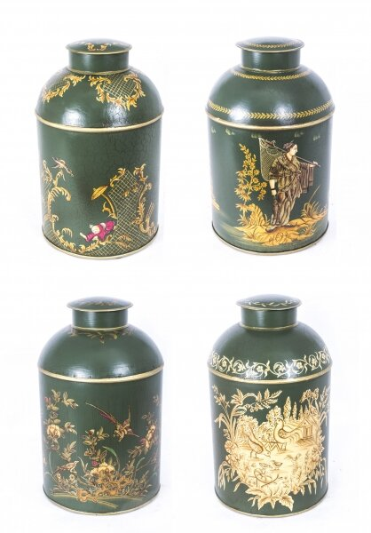Gorgeous Set 4 Handpainted Toleware Tea Caddies | Ref. no. 07577 | Regent Antiques