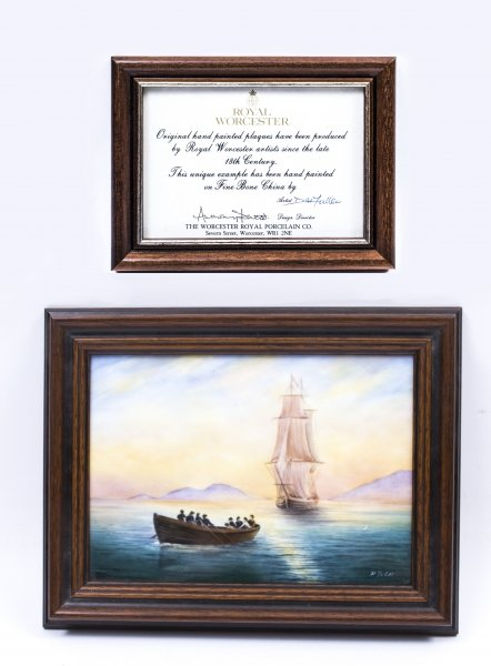 Vintage  Worcester Framed Porcelain Seascape Plaque by D. Fuller | Ref. no. 07595 | Regent Antiques