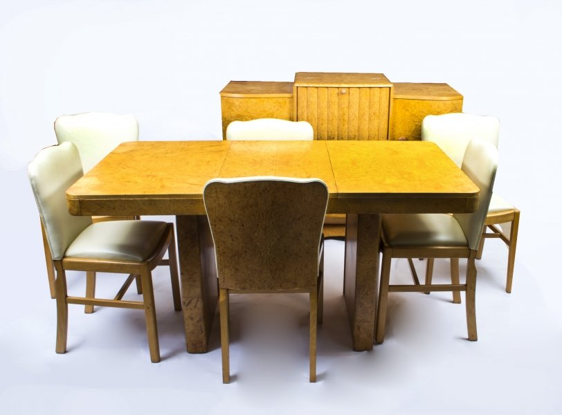 Antique Art Deco Dining Table Chair Set With Tail Cabinet Sold
