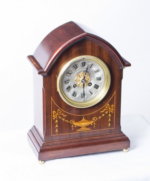 Antique French marquetry Mahogany Mantle Clock c.1900 | Ref. no. 07642 | Regent Antiques