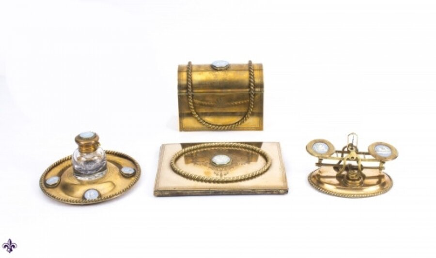 Antique Brass & Jasperware Desk Set James Howell 19th C | Ref. no. 07645 | Regent Antiques
