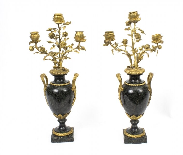 Antique Pair Ormolu Verde Antico Marble Candelabra|Gilded ormolu and marble candelabra | Ref. no. 07669 | Regent Antiques