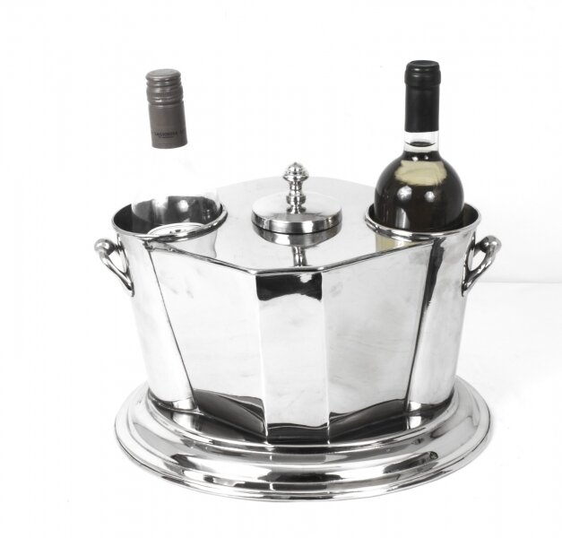 Silver Plated Art Deco Style Wine Cooler Ice Bucket | Ref. no. 07788 | Regent Antiques