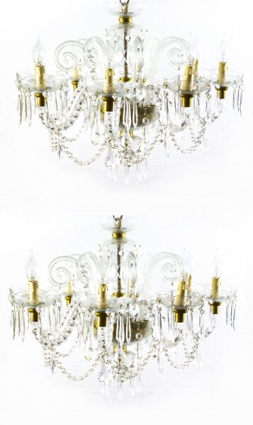 Superb Pair of Vintage Venetian 8 Light Crystal Chandeliers | Ref. no. 07821 | Regent Antiques