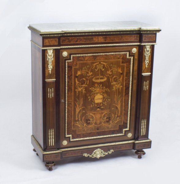 Antique French Burr Walnut Marquetry Side Cabinet c.1860 | Ref. no. 07855 | Regent Antiques