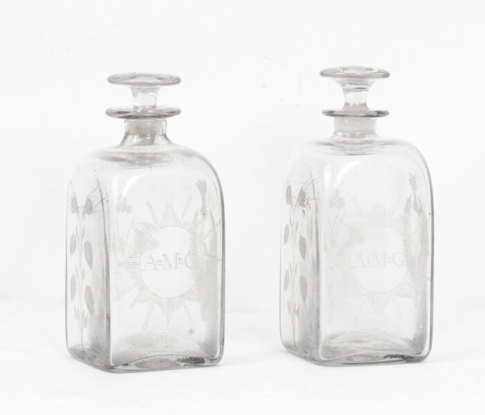 Antique Pair of Etched Glass Decanters Thistles c.1900 | Ref. no. 07881 | Regent Antiques