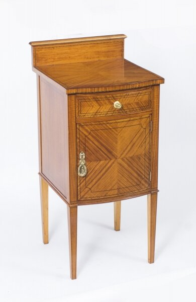 Antique Victorian Satinwood Bowfront Bedside Cabinet c.1880 | Ref. no. 07988 | Regent Antiques