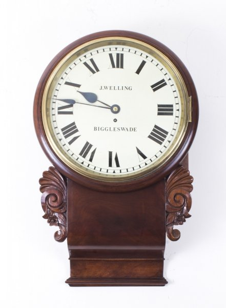 Antique Victorian Drop Trunk Single Fusee  Flame Mahogany Wall Clock C1860 | Ref. no. 08044 | Regent Antiques