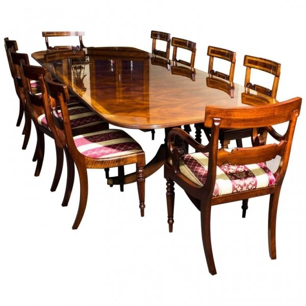 Bespoke Flame Mahogany 10ft Regency Style Dining Table Set Of 10 Chairs