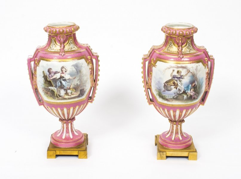 Antique Pair French Ormolu Mounted Pink Sevres vases C1880 | Ref. no. 08081 | Regent Antiques
