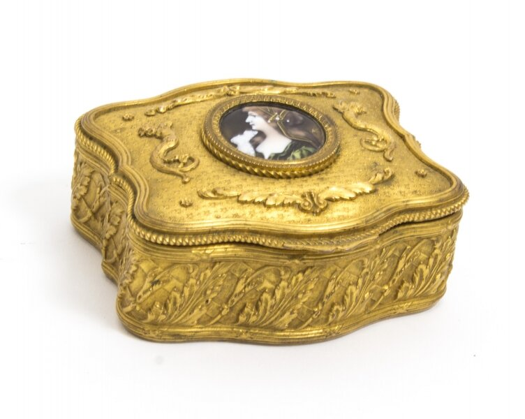 Antique Gilt Bronze Jewellery Casket and Limoges Miniature | Ref. no. 08122 | Regent Antiques