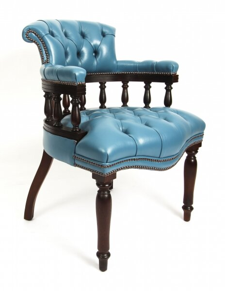 Bespoke English Hand Made Leather Captains Desk Chair Blue Teal | Ref. no. 08131a | Regent Antiques
