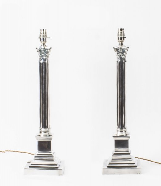 silver plated table lamps | Ref. no. 08135 | Regent Antiques