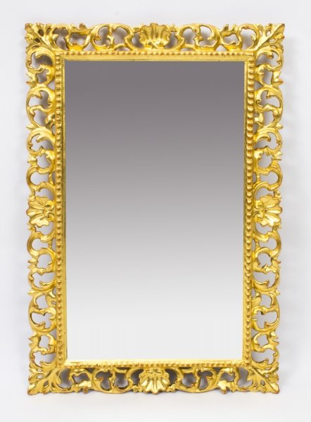 Antique Italian Gilded Hand Carved Florentine Mirror c.1880 -   60 x 40cm | Ref. no. 08222 | Regent Antiques