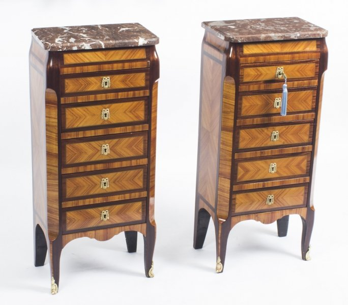Antique Pair French Kingwood & Rouge Marble Top Bedside Chests Cabinets c1870 | Ref. no. 08301 | Regent Antiques