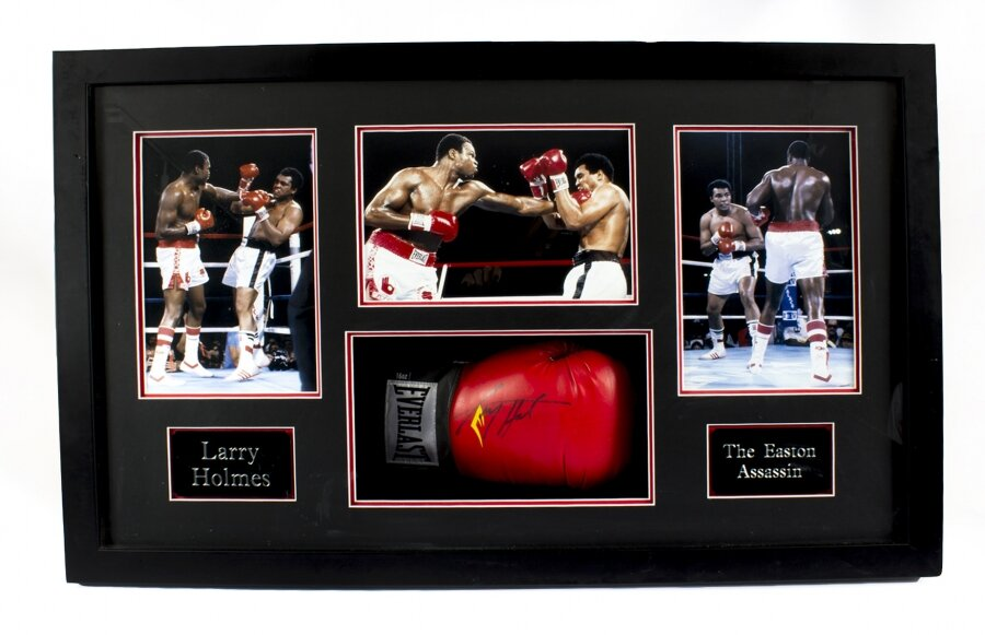 "Everlast boxing glove autographed by Larry Holmes ""Easton Assassin"" with COA 