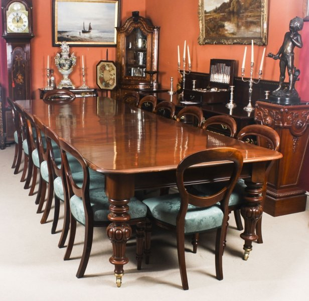 Antique Victorian 12 ft Flame Mahogany  Dining Table & 14 antique chairs c.1860 | Ref. no. 08328c | Regent Antiques