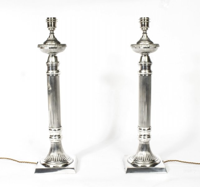 silver plated table lamps | Ref. no. 08329 | Regent Antiques