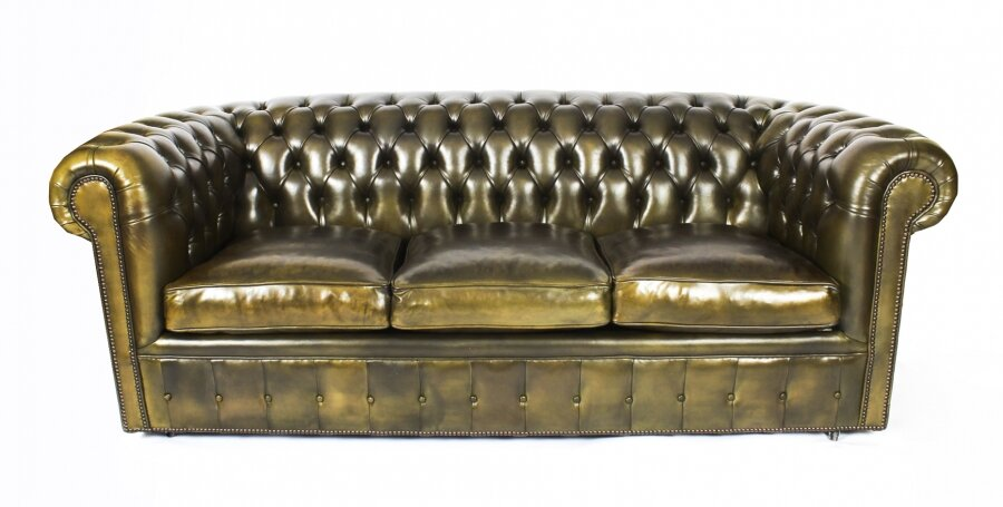 Bespoke English Leather Chesterfield Sofa Bed Olive Green | Ref. no. 08457G | Regent Antiques