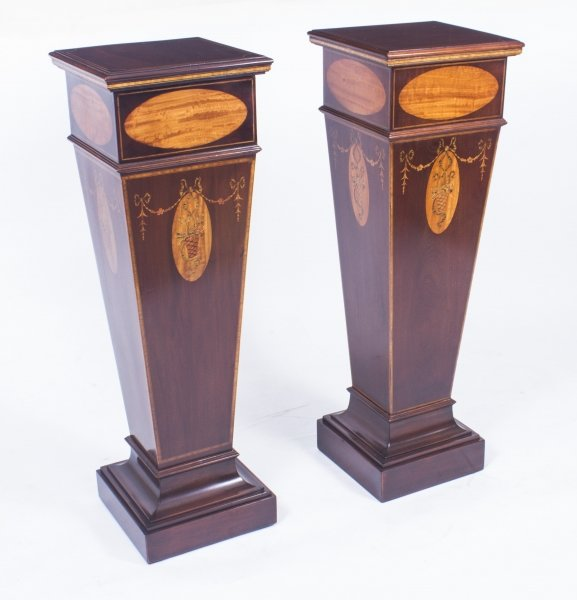 Antique Pair of Sheraton Revival Marquetry Statuary Pedestals C1900 | Ref. no. 08461 | Regent Antiques