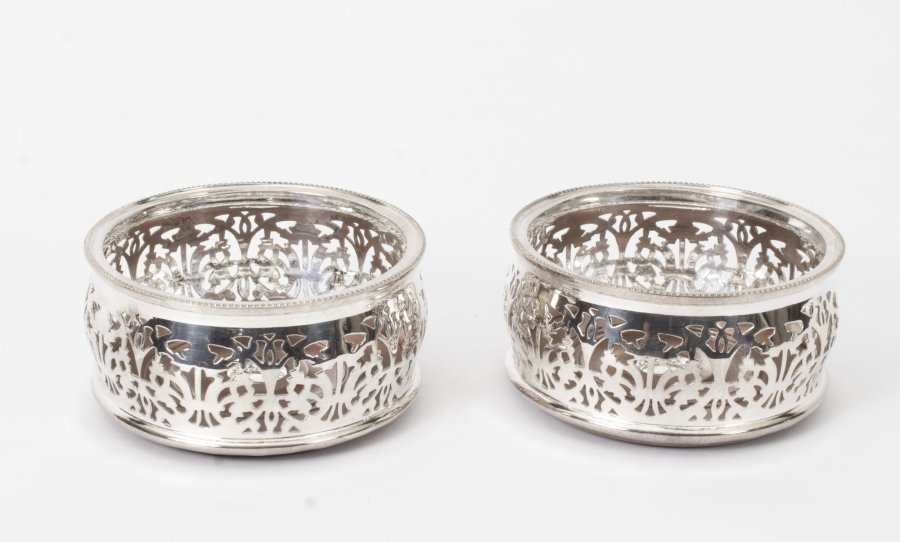 Superb Pair of Silver Plated English Wine Coasters | Ref. no. 08535 | Regent Antiques