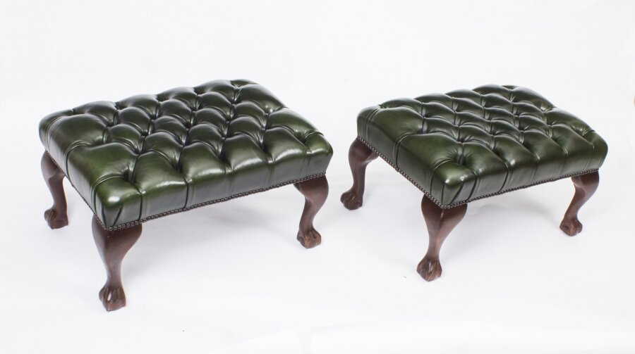 Bespoke Pair of Chippendale Ball & Claw Leather Stools Emerald Green | Ref. no. 08541a | Regent Antiques