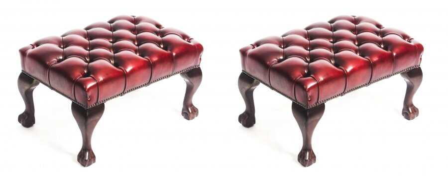 Bespoke Pair Chippendale Ball & Claw Leather Stool Emerald Ruby Red | Ref. no. 08541b | Regent Antiques